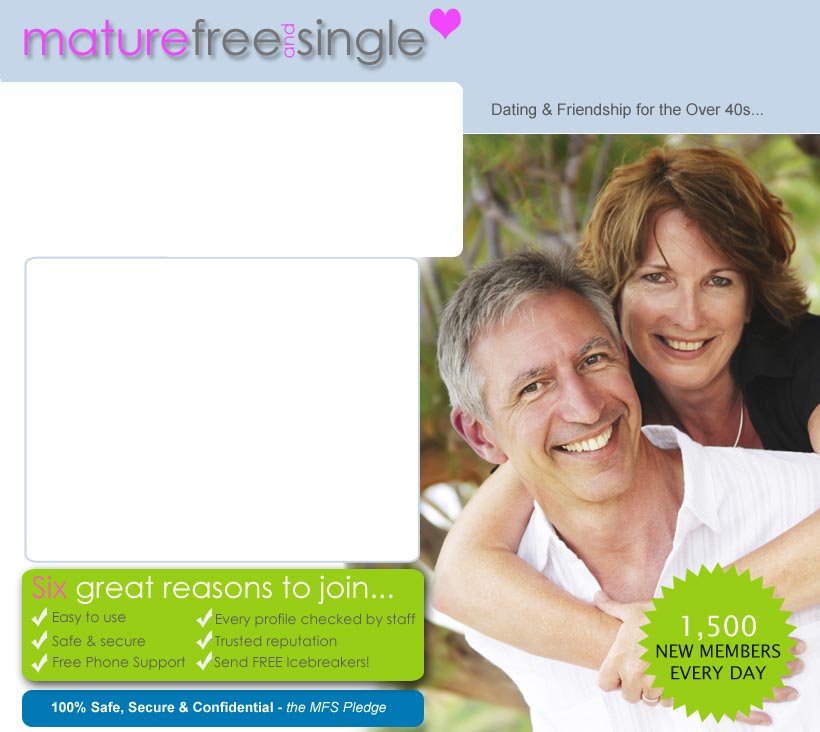 dating maturefreeandsingle login Top 5 sites likes/similar to maturefreeandsingle according the website, the title is: senior dating | over 40s dating | maturefreeandsingle member login.